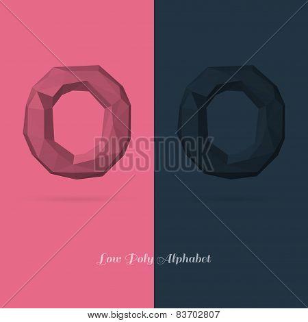 Polygonal Flat Alphabet Letter O