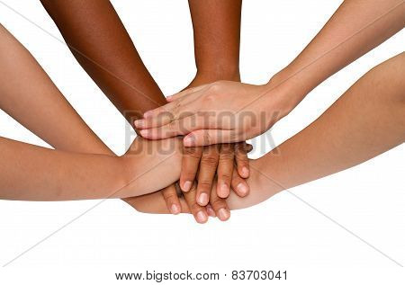 Teamwork And Team Spirit ,handshake In A Group After Work  Successful