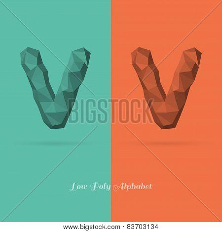 Polygonal Flat Alphabet Letter V
