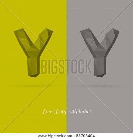 Polygonal Flat Alphabet Letter Y