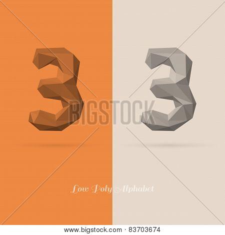 Polygonal Flat Alphabet Number 3