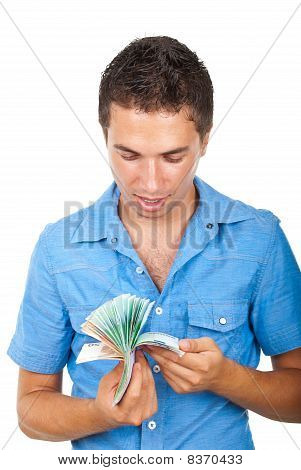 Happy Man Counting Money