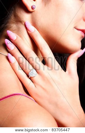 Beautiful Pink Fashionable Nails