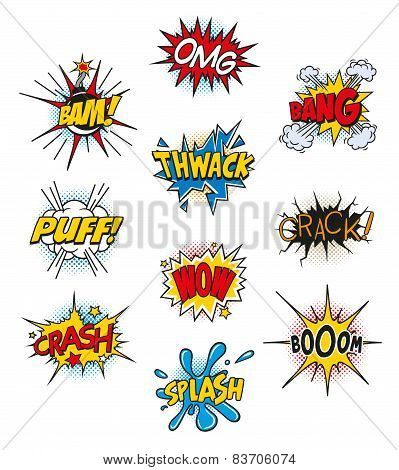 Retro Comic Book Vector Design elements, Speech and Thought Bubbles