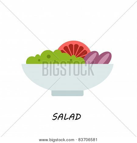 salad in bowl on white background illustration of isolated