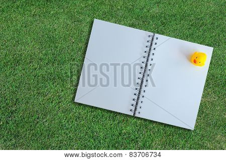 White Page Of Notebook On Grass Texture