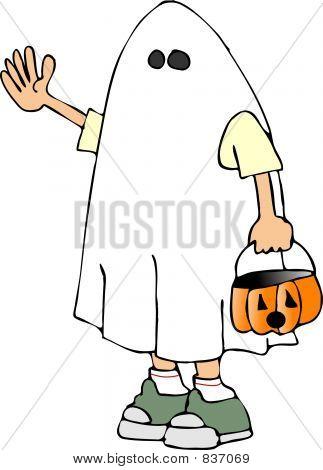 Boy in a ghost costume