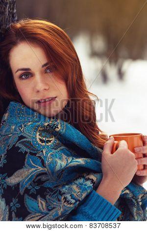Beautiful Woman Holding Tea Cup