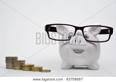 Happy piggy bank with coins