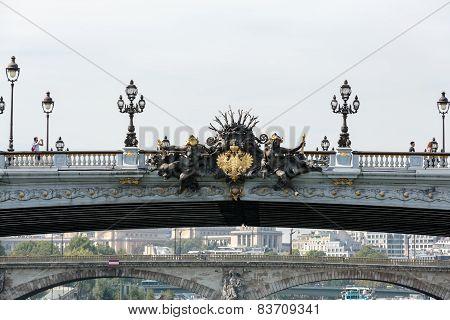 The Alexandre III bridge in Paris France