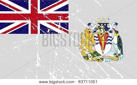 Flag Of British Antarctic Territory With Old Texture. Vector