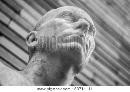 Ancient bust of Roman marble black, white version