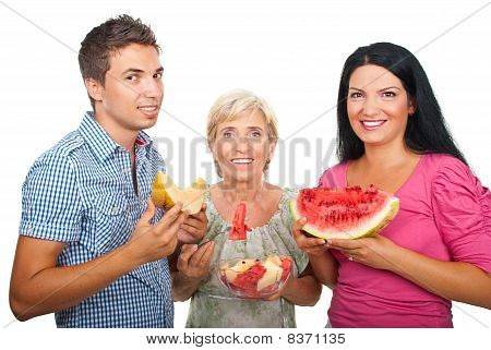Healthy Family With  Melons