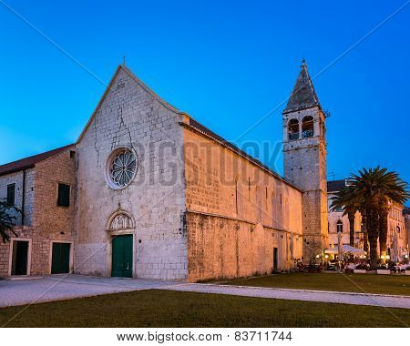 Illuminated Church Of Saint Dominic In Trogir At Night, Croatia