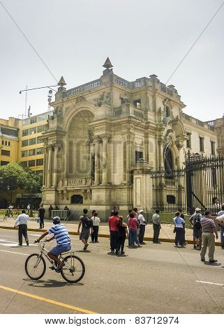 Tourists At The Historic Center Of Lima In Peru