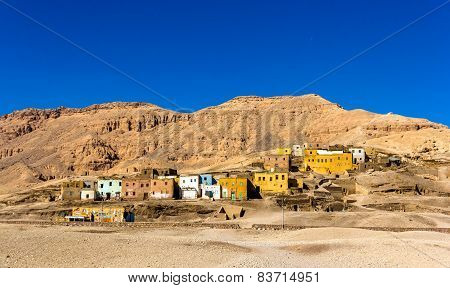 Egyptian Village In The Desert Near Luxor
