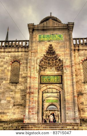 Entrance To Sultan Ahmet Mosque (blue Mosque) In Istanbul - Turkey