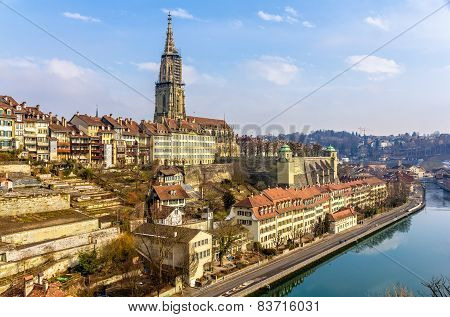 View Of Bern Old Town Over The Aare River - Switzerland