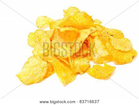 Crispy Potato Chips Closeup