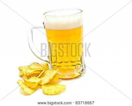 Glass Of Beer And Ruffles Chips Closeup