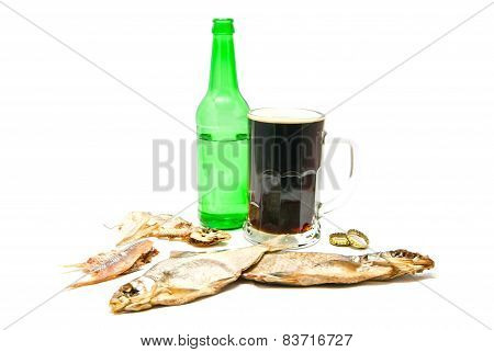 Salty Fishes And Beer On White