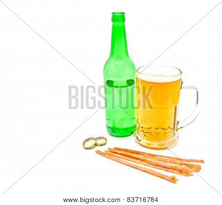 Fish Snack And Mug Of Light Beer