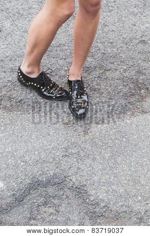 Detail Of Shoes Outside Alberta Ferretti Fashion Show Building For Milan Women's Fashion Week 2015