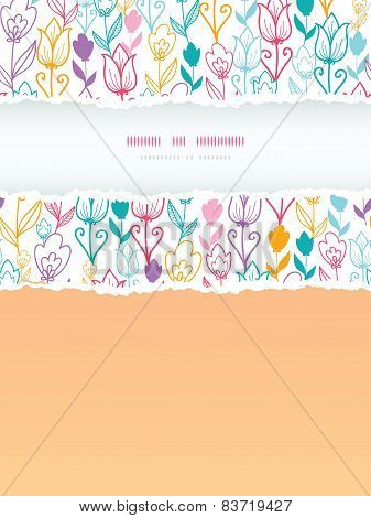 Colorful tulip flowers torn frame vertical seamless background