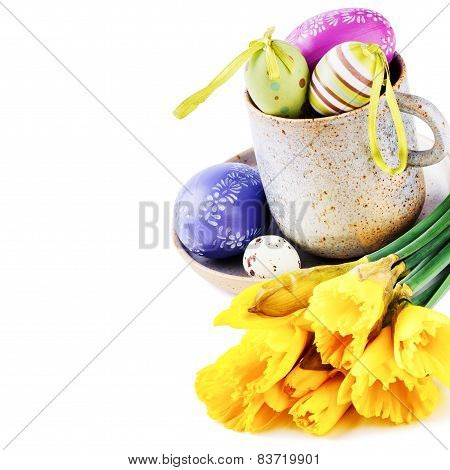 Easter Setting With Yellow Daffodils And Decorative Eggs