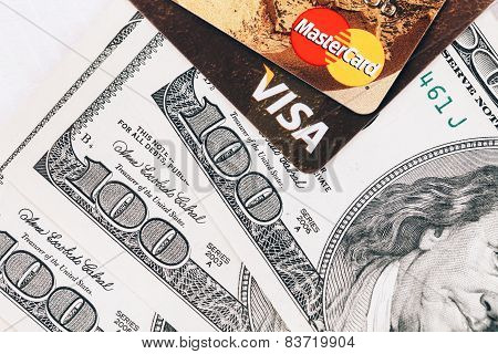 visa, mastercard cards with money