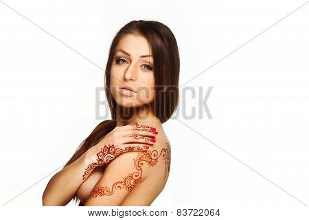 Beautiful Girl With Henna Mehendi On Back And Wrists