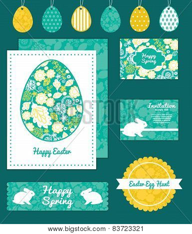 Vector emerald flowerals set of Easter cards, labels, tags and banners templates