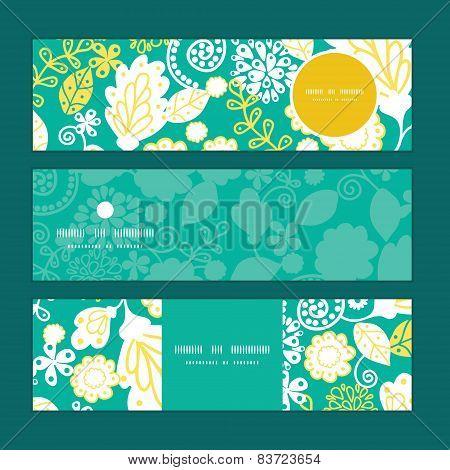 Vector emerald flowerals horizontal banners set pattern background