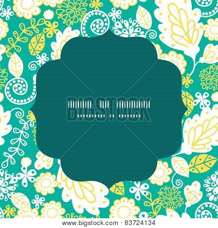 Vector emerald flowerals circle frame seamless pattern background
