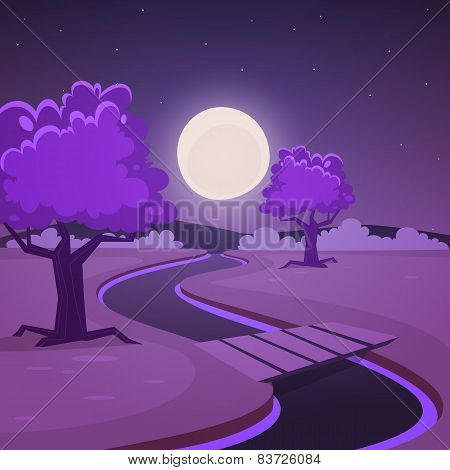 Cartoon Night Landscape