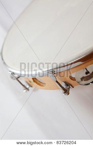 Vertical Tambourine On White Background