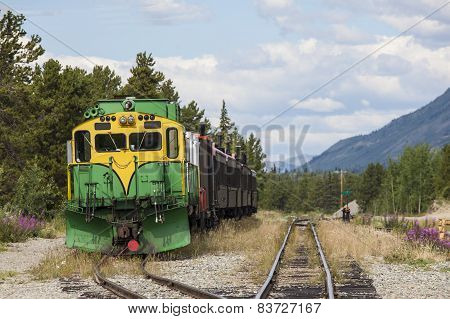 Train waits in siding at Carcross