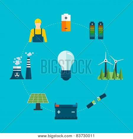 Flat design vector concept illustration with icons of professional electrician and power generation
