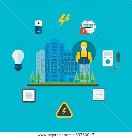 Flat design vector concept illustration with icons of professional electrician and and electricity c