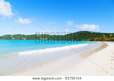 Spectacular Magens Bay beach in the morning on St Thomas Island US VI.