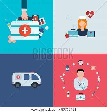 Flat design modern vector illustration concept for health care, medical help, ambulance car and medi