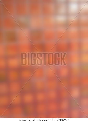 Natural Bright Blurred Background Of Red Brick.