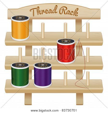 Wood Rack, Needle And Sewing Threads