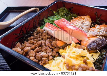 Japanese Lunch Box On Wooden Black