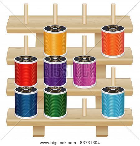 Wood Thread Storage Rack, Spools Of Sewing Thread