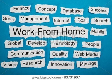 Work From Home Text On Piece Of Torn Paper