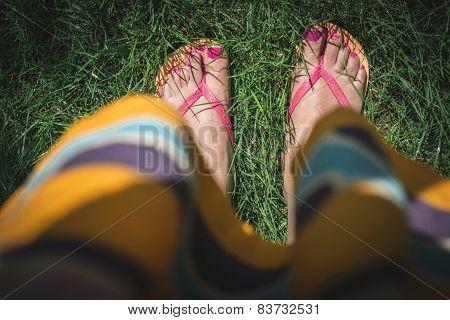 Feet On Green Meadow