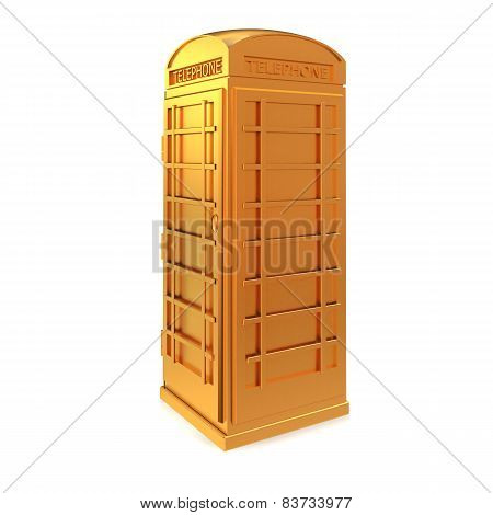 Golden Telephone Box Isolated On A White Background