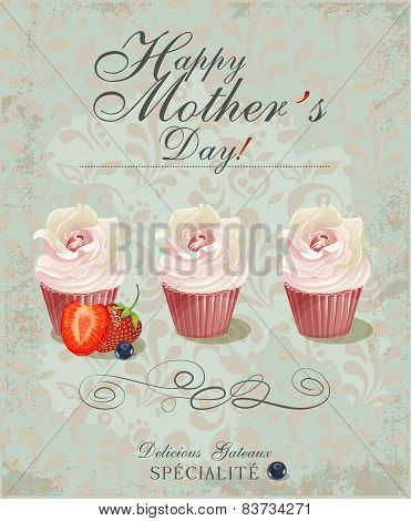 Vintage Happy Mothers's Day Typographical Background.