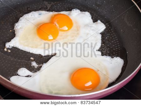 Close-up Photo Of Two Scrambled Eggs In  Pan